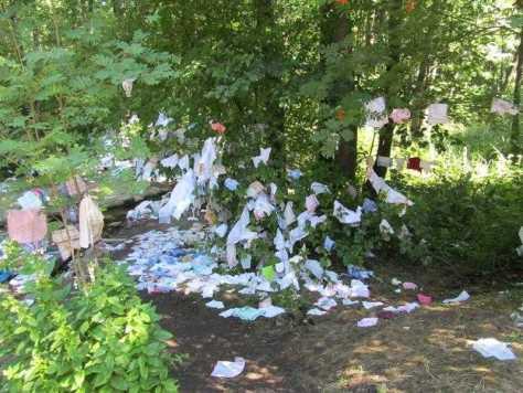 08. Это не мусор, а оставленные паломниками платки у подножья Грабарки