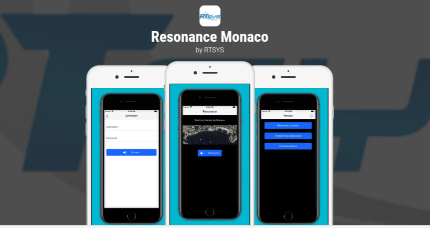 An app store features RTsys Resonance, which is being used to monitor construction at a land-extension project in Monaco.