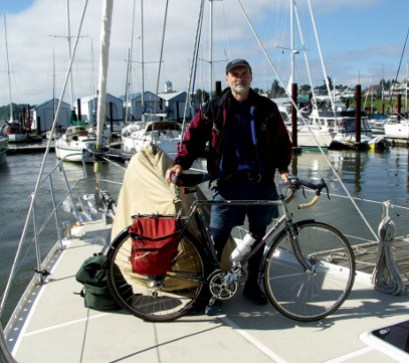 The author on the Columbia River with the Ocean Watch crew, who had just sailed around the Americas