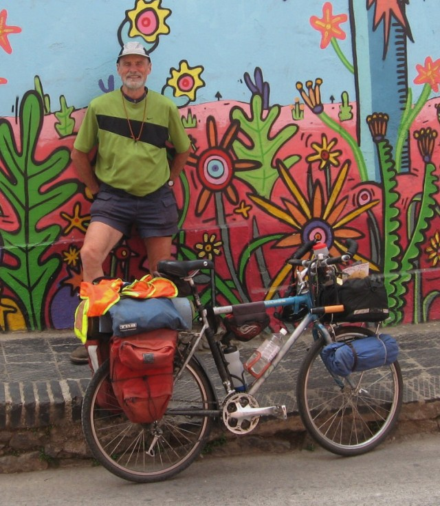 The Mule Packer and me at a hostel in Valparaiso, Chile--city of murals.