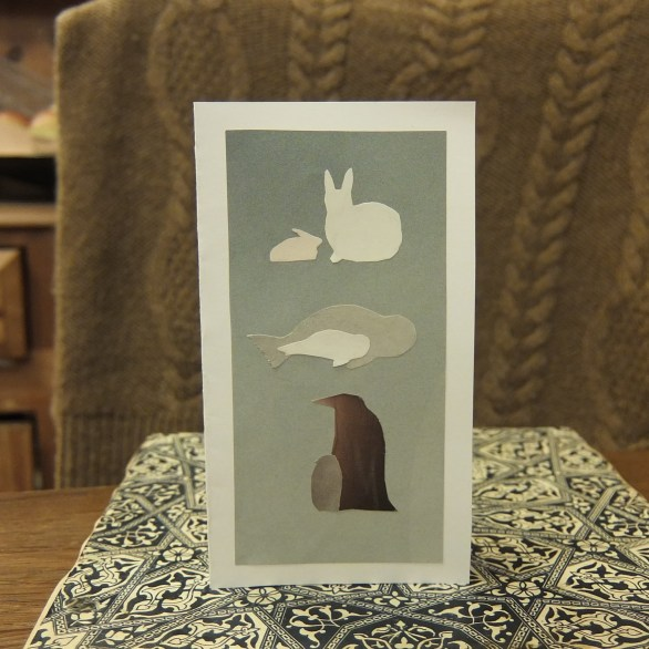 arctic hare, harp seal and emperor penguin mother's day card