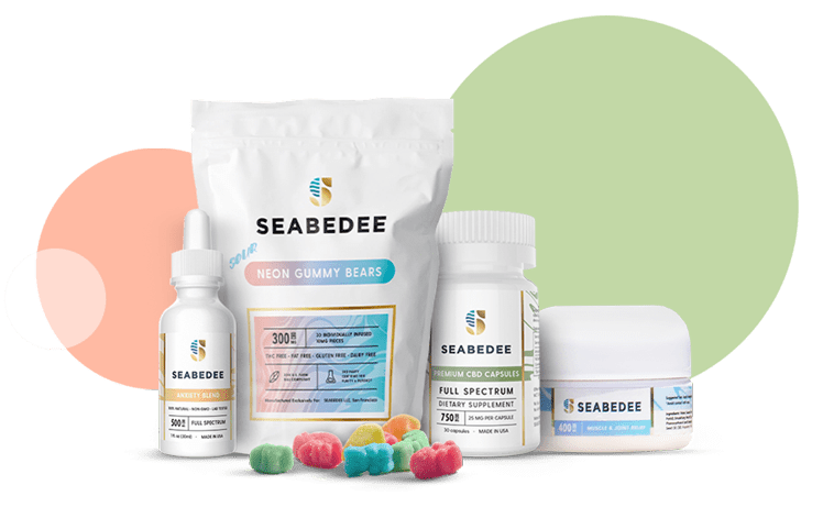 Bundle of Seabedee Products: CBD Oil Calming Blend, CBD-Infused Sour Neon Gummies, CBD Capsules, CBD Muscle & Joint Relief Cream