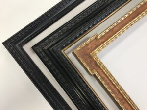 Custom made and finished Dutch picture frames. Ebonized wood, exotic veneers, rippled mouldings and gilded details.