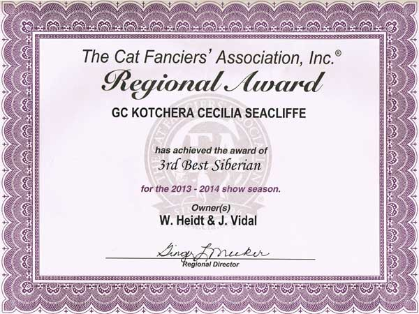 Cici's 3rd place certificate, United States NW Region 2013-2014