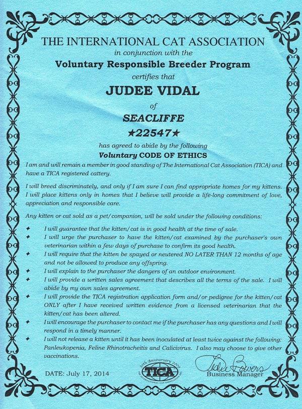 TICA Responsible Breeder Programme