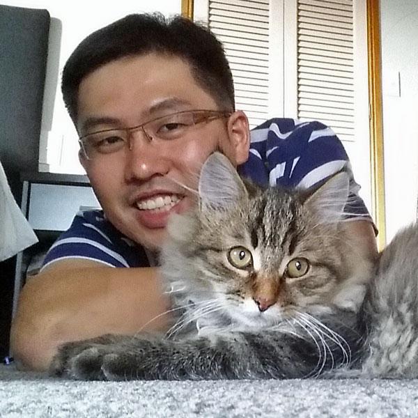 Siberian kitten Moca with Danny