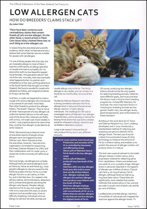 Low allergen Siberian cats in Flash Cats magazine