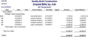 unpaid bills report