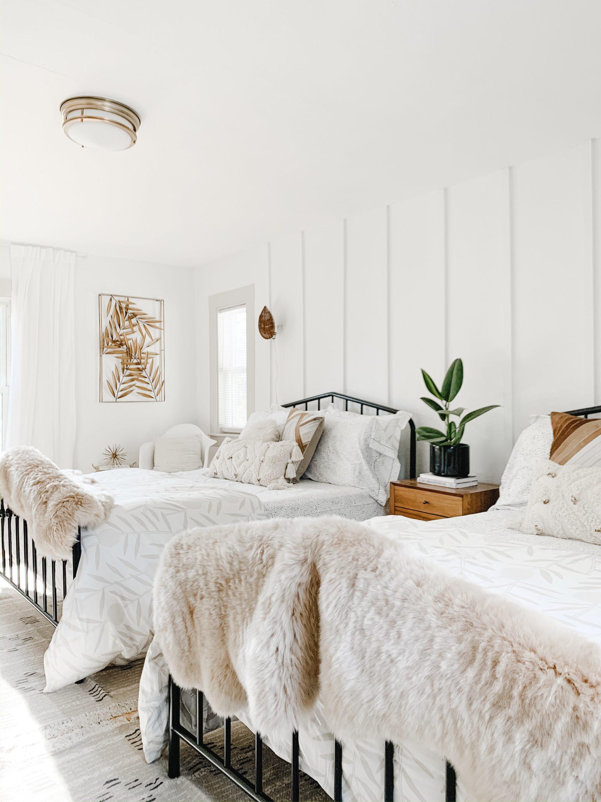 Brass & Pine Bedroom Design