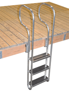 Seaco Marine 3 step aluminum swim ladder on wood dock