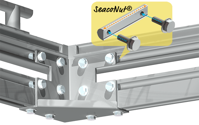 SeacoNuts, bolts and corner bracket assembly on a Seaco Marine Aluminum Dock