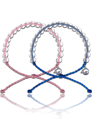A pink and a blue 4Ocean bracelet on a white background.