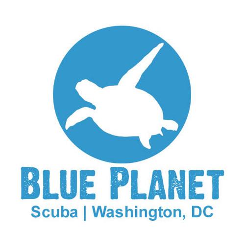Blue Planet Scuba logo in blue.
