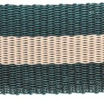 A green and brown striped welcome mat made from discarded lobster pots.