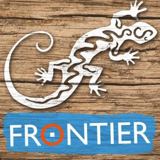 Volunteer NGO Frontier logo featuring a white gecko illustration.