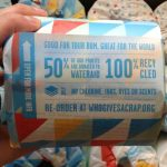 Shop: Who Gives a Crap instructions on a roll of toilet tissue.