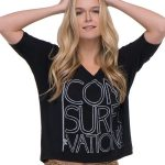 Shop: Blonde woman wearing a Consurfvation black t-shirt.