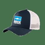 Shop: A dark blue and white baseball cap with the Rock the Ocean logo.
