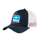 Shop: A dark blue and white baseball cap with the Rock the Ocean logo.