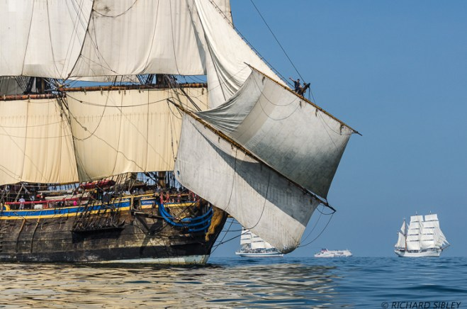 Background Vessels are the Russian Full Rigger MIR, Stena Line ferry and the Mexican Barque Cuauhtemoc