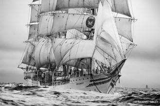 Norwegian full rigger, Sorlandet in a heavy swell.