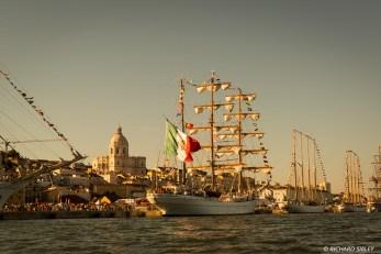 Ships from left to right, Dar Mlodziezy, Cuauhtemoc, Santa Maria Manuela, Creoula and Statsraad Lehmkuhl