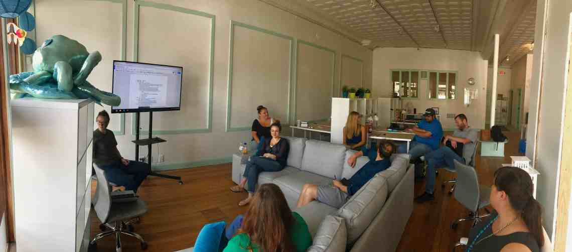 Seafoam's team gathering in our office for Seafoam Day