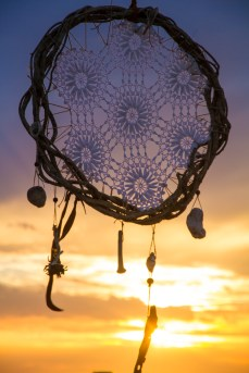 Sea Gypsy Treasure Natural Dreamcatcher Large with crochet and beach gold
