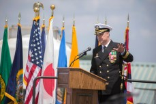 170505-N-WM647-189 YOKOSUKA, Japan (May 5, 2017) Cmdr. Justin Harts, off-going commanding officer of the Arleigh Burke-class guided-missile destroyer USS Benfold (DDG 65), addresses the crew during a change of command ceremony. Benfold is forward deployed to the U.S. 7th Fleet area of responsibility in the Indo-Asia-Pacific region. (U.S. Navy photo by Mass Communication Specialist 3rd Class Elesia Patten/Released)