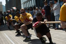 170521-N-NT265-487 SHIMODA, Japan (May 21, 2017) – U.S. Navy Sailors assigned to the forward-deployed Arleigh Burke-class guided-missile destroyer USS Mustin (DDG 89) participate in a tug of war contest as part of the Shimoda Black Ship Festival. The Navy's participation in the festival celebrates the heritage of U.S.-Japanese naval partnership first established by commodore Matthew Perry's 1853 port visit. For more than 160 years, the United States has established a heritage of naval presence in the Indo-Asia-Pacific region to promote partnership, prosperity, and maritime security. (U.S. Navy photo by Mass Communication Specialist 2nd Class Christian Senyk/Released)