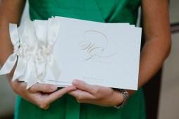 Booklet Style Wedding program with Ivory Ribbon