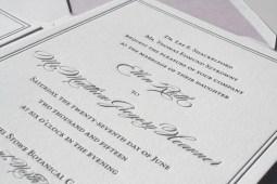 Gray Letterpress Invitation with Lavender envelope liner