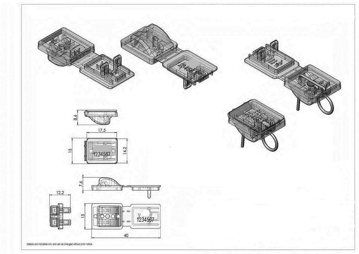 Polycarbonate security seal. Minifastlock series