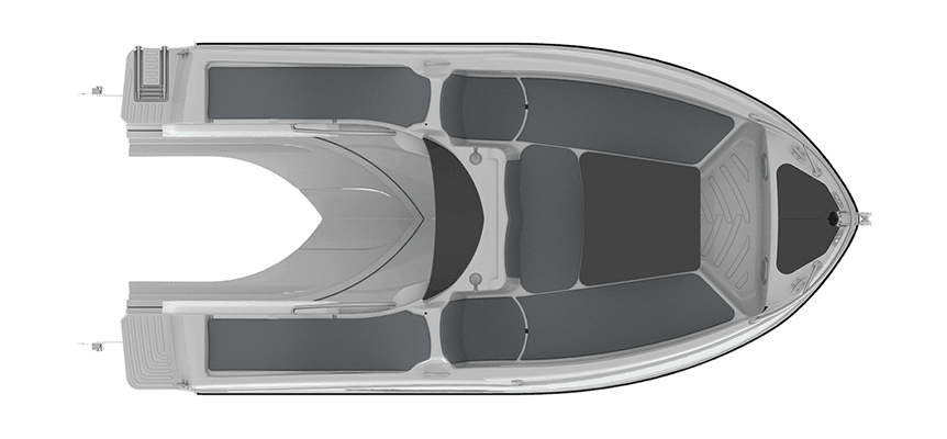Sealver, waveboat, wave boat, wb 575, 5m, jetboat, bateau jetski, vue de haut, plan de pont, upper view, deck view, polyester, coque, chantier naval français, french shipyard