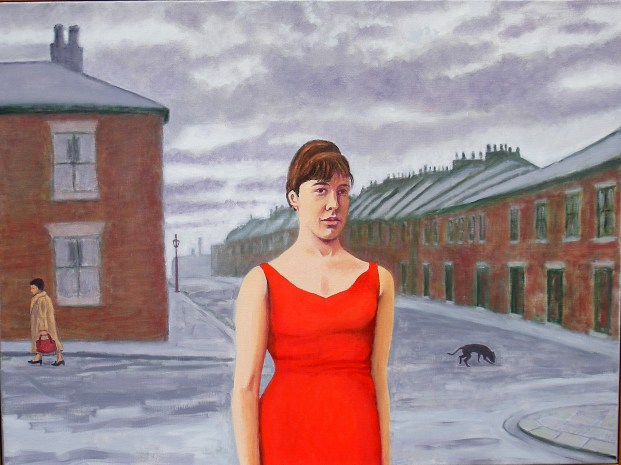 John Walker, Newcastle upon Tyne, 2011 - I met Margaret Clark at art school in Newcastle upon Tyne in the late 1950s where she was studying fine art and printed textiles. She lived with her sister Patsy and parents in the poor, working class, West End district of Elswick (178 Stone St) not far from Newcastle's football ground - St Jame's Park - and the Scotswood Rd. The houses consisted of two flats and she lived in an upper one. To reach an outside toilet and coal bunker one had to descend a flight of steps into a small back yard. (There were no gardens front or back.) This was a cold and hazardous journey during snowy winters. Her father worked in a shipyard and his Geordie accent was so strong I could hardly understand him. Her mother was of Irish origin and a staunch Catholic. Despite her lowly origins, Margaret earned a place at university and she was design and fashion conscious. She often made her own clothes by imitating images in fashion magazines. She wore such a red dress - a common fashion icon - made from a soft, body-hugging material when we were courting and naturally it prompted a highly erotic episode. American academics have even conducted psychological research into the erotic power of red dresses. What appealed to me about this combination of portrait and townscape was the contrast between the youthful beauty of the female and the drab environment in which she had grown up.