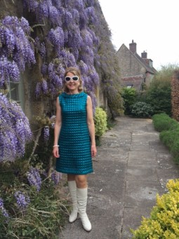 Submitted by Joy Merron, UK - All dressed up and ready to go to a 60s revisitedfancy dress party in vintage 60s gear!