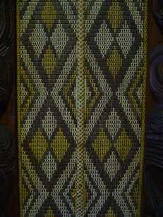Detail of tuku tuku panel, Waitangi Treaty House, New Zealand