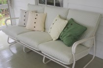 New look for an old sofa - recovered with cotton ticking with zippers at back