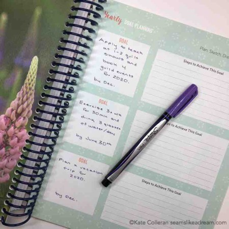 Big Picture Quilting Goals for 2019 featured by top US quilting blog and shop, Seams Like a Dream Quilt Designs: Image of Quilter's Planner goals page