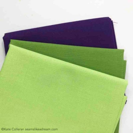 purple and green fabrics