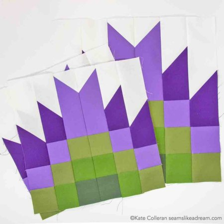 green and purple block 4 Adventure Quilt