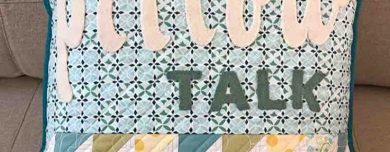 Text It! Book review featured by top US quilting blog and shop, Seams Like a Dream Quilt Designs: blue and green pillow with text