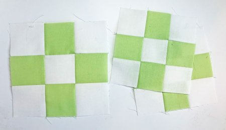 green and white nine patch blocks