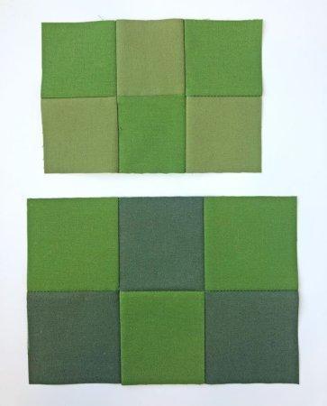 dark green and medium green six patch blocks