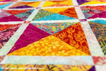 Tropical Sunset: a Brand New Fat Quarter Quilt Pattern featured by top US quilting blog and shop, Seams Like a Dream Quilt Designs
