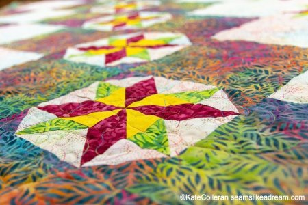 New Quilt Pattern: Tropical Sky, a Pieced Star Quilt featured by top US quilting blog and shop, Seams Like a Dream Quilt Designs
