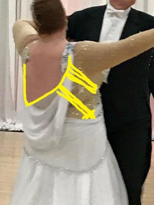 How to alter a bargain dance dress so it looks good on a full-figure woman. Dancesport gown