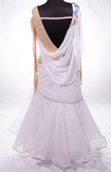 Dancesport ballgown redesign, original back. How to redesign a bargain dance dress