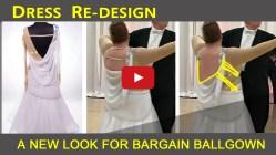 redesign ballroom dancing costume, back cowl drape 1, bargain ballgown