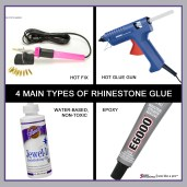4 main rhinestone glues, hot hix, hot glue glue, non-toxic white, epoxy